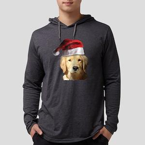 Christmas Golden Retriever Santa Mens Hooded Shirt