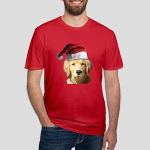 Christmas Golden Retri Men's Fitted T-Shirt (dark)