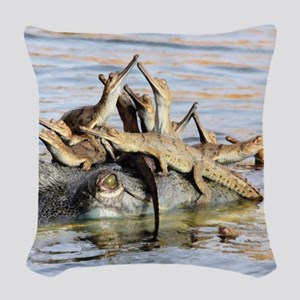 Baby Alligators Woven Throw Pillow