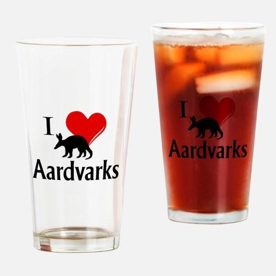 I Heart Aardvarks Drinking Glass