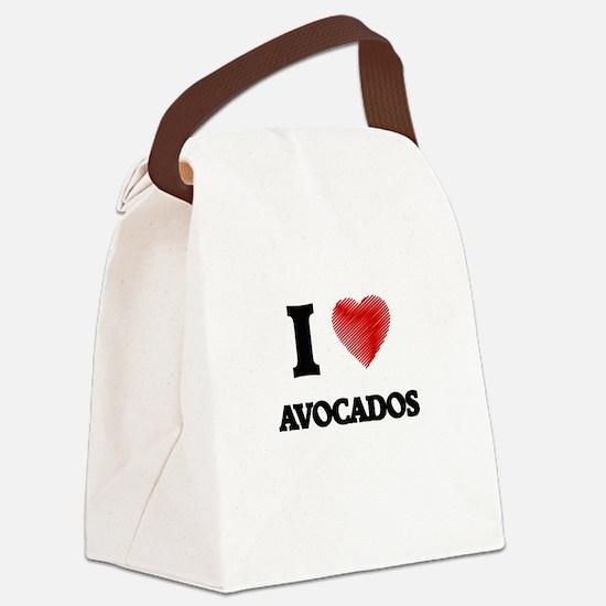 I Love Avocados Canvas Lunch Bag