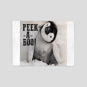 penguin: peek a boo! 5'x7'Area Rug
