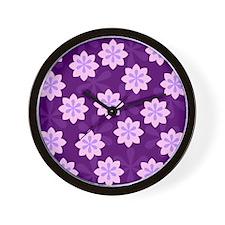 Pink Flowers Print Wall Clock