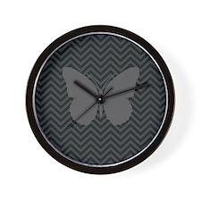Chevron Butterfly Print Wall Clock