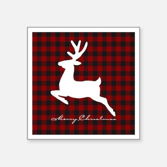 Merry Christmas deer on plaid Sticker