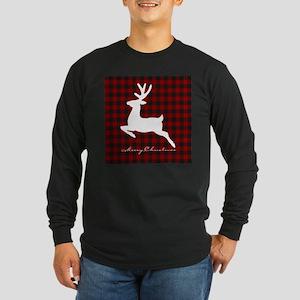 Merry Christmas deer on plaid Long Sleeve T-Shirt