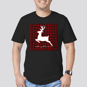 Merry Christmas deer on plaid T-Shirt