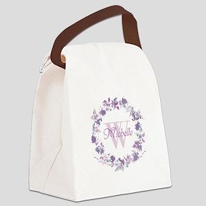 Monogram Watercolor Floral Wreath Canvas Lunch Bag