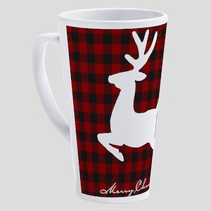 Merry Christmas deer on plaid 17 oz Latte Mug