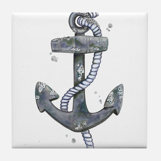Anchor with Barnicles Tile Coaster