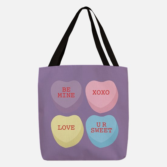 Conversation Hearts Polyester Tote Bag