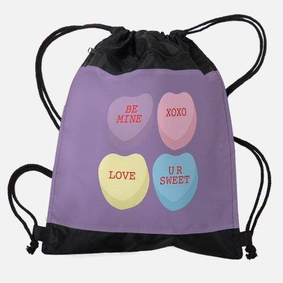 Conversation Hearts Drawstring Bag