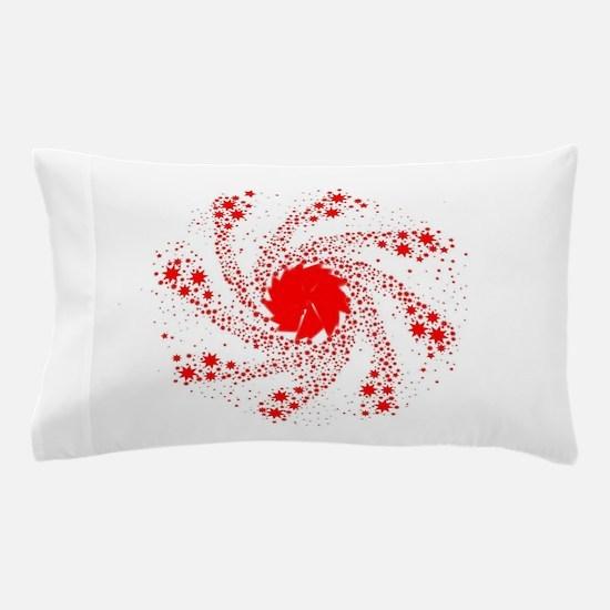 Red Pin Wheel Pillow Case