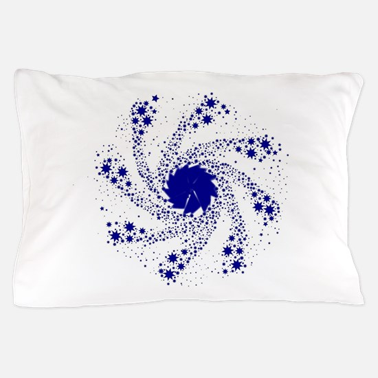 Blue Pin Wheel Pillow Case