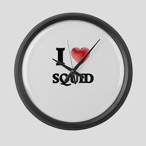 I Love Squid Large Wall Clock
