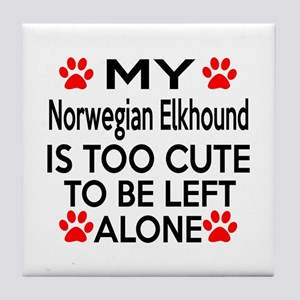 Norwegian Elkhound Is Too Cute Tile Coaster