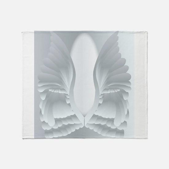 Silver Angel Wings Throw Blanket