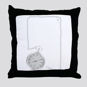 Silver Watch and Chain Border Throw Pillow