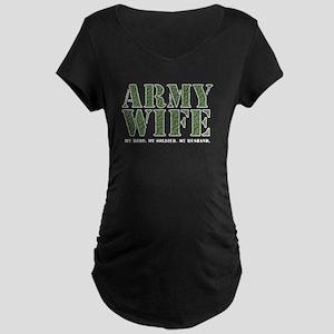 Army Wife Camo Black Maternity Dark T-Shirt