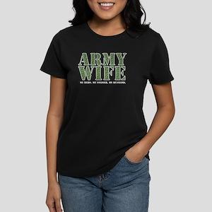 Army Wife Camo Black Women's Dark T-Shirt