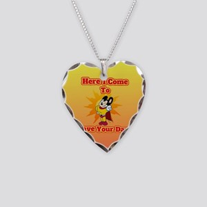 Here I Come To Save Your Day Necklace Heart Charm