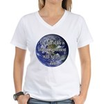 Living With Nature Quote Women's V-Neck T-Shirt