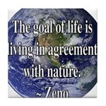 Living With Nature Quote Tile Coaster