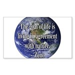 Living With Nature Quote Rectangle Sticker