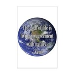 Living With Nature Quote Mini Poster Print