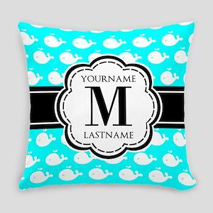 Aqua Whales Pattern, Black Custom Everyday Pillow
