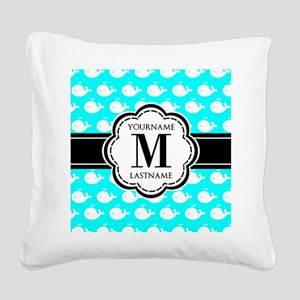 Aqua Whales Pattern, Black Cu Square Canvas Pillow