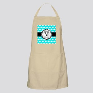 Aqua Whales Pattern, Black Custom Monogram Apron
