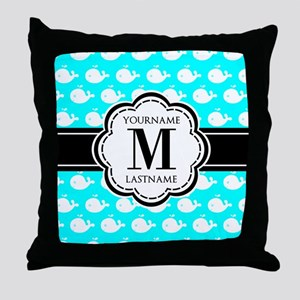 Aqua Whales Pattern, Black Custom Mon Throw Pillow