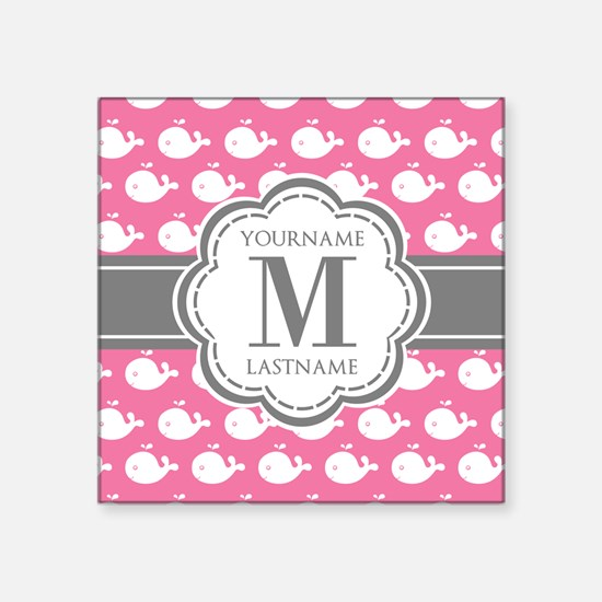 "Pink Whimsical Whale Person Square Sticker 3"" x 3"""