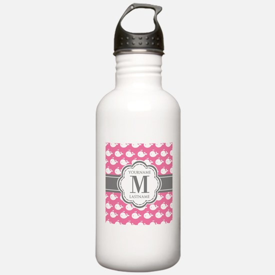 Pink and white whales Water Bottle