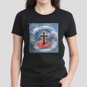 He Has Risen Rugged Cross With Clouds T-Shirt