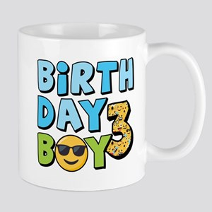 Emoji Birthday Boy Three 11 oz Ceramic Mug