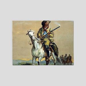 Buffalo Bill Vintage Painting 5'x7'Area Rug