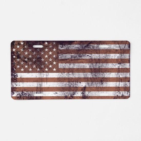 Vintage American Flag 2 Aluminum License Plate