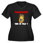 Halloween Skull Fire Trick or Women's Plus Size V-