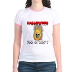 Halloween Skull Fire Trick or Jr. Ringer T-Shirt