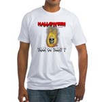 Halloween Skull Fire Trick or Fitted T-Shirt