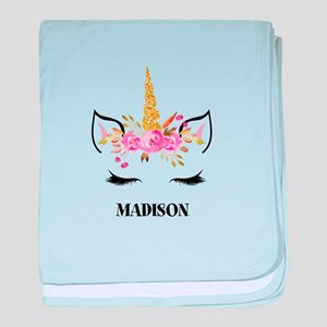 Unicorn Face Eyelashes Personalized Gift baby blan