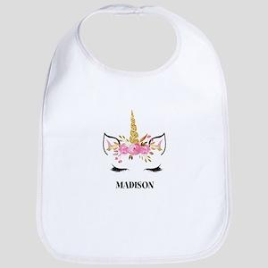 Unicorn Face Eyelashes Personalized Gift Baby Bib