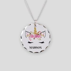 Unicorn Face Eyelashes Personalized Gift Necklace