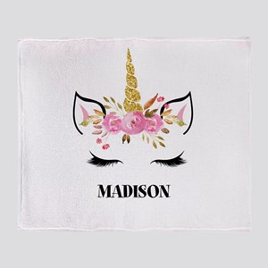 Unicorn Face Eyelashes Personalized Gift Throw Bla