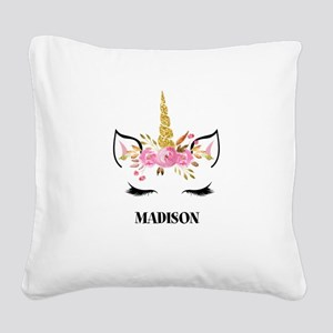 Unicorn Face Eyelashes Personalized Gift Square Ca