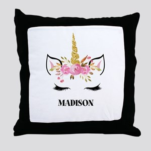Unicorn Face Eyelashes Personalized Gift Throw Pil