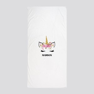 Unicorn Face Eyelashes Personalized Gift Beach Tow