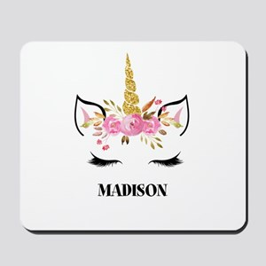 Unicorn Face Eyelashes Personalized Gift Mousepad
